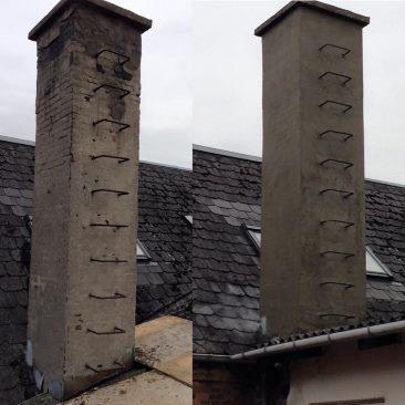 Netpudsrenovering på skorsten i St. Brøndum