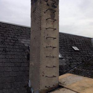 Netpudsrenovering på skorsten i St. Brøndum efter
